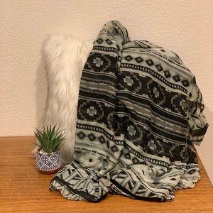 Tribal print light shawl/ wrap scarf in black/grey